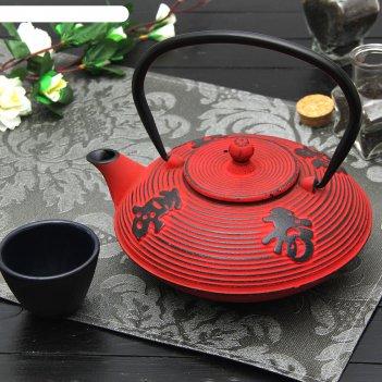 Чайник с ситом 800 мл китайская мудрость, цвет красный