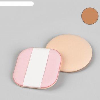 Набор пуховок для нанесения косметики, с держателем, 2 шт, цвет розовый/бе