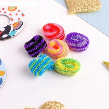 Резинка для волос махрушка радужные полосы (набор 100 шт) яркие