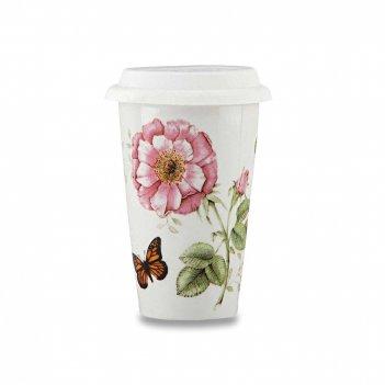 Термокружка с крышкой «бабочки на лугу», объем: 360 мл, материал: фарфор,
