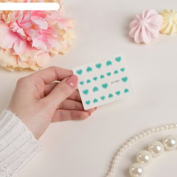 Слайдер-дизайн для ногтей, водный, цвет голубой