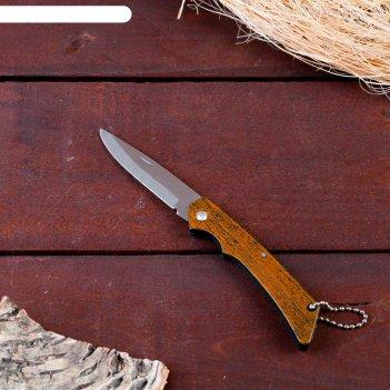 Нож складной неавтоматический, рукоять коричневая