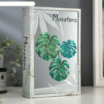 Шкатулка-книга дерево кожзам монстера зеркало 26х17,5х5 см