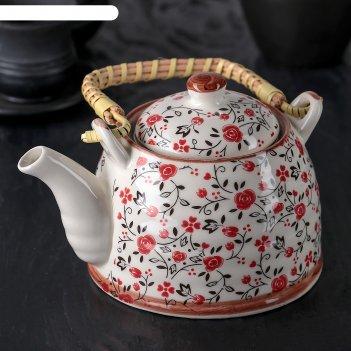 Чайник заварочный 600 мл виньетки, цвет розовый