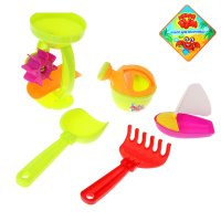 Песочный набор 5 предметов: мельница, лейка, грабли, совок, кораблик, цвет