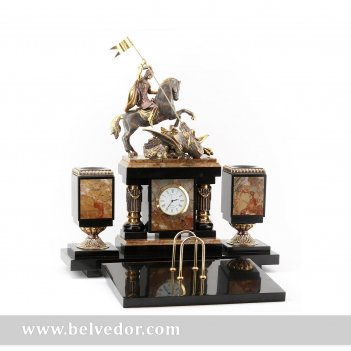 Настольный набор георгий победоносец, камень яшма, бронзовое литье
