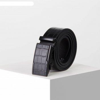 Ремень мужской, ширина 3,5 см, автомат, пряжка металл, цвет чёрный