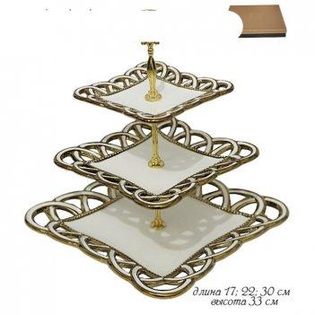 Трехъярусная этажерка элегия, керамика, 17 см, 22 см, 30 см