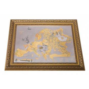 Панно символическая карта европы 1915 года (покрытие золотом,