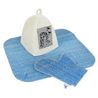 Набор банный мы - пилоты (шапка, коврик, рукавица), мужской