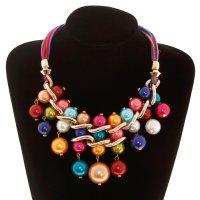 Колье модный стиль, крупное, шарики жемчужинок крупные, цветной