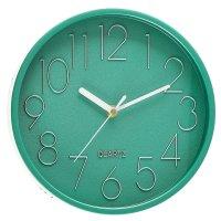 Часы настенные классика, круг, арабские цифры, зеленый металлик, d=22,5 см