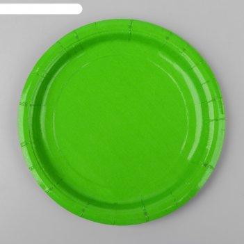 Тарелка бумажная однотонная, цвет салатовый