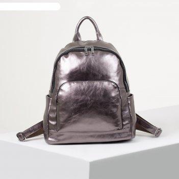 Рюкзак молодёжный, отдел на молнии, 4 наружных кармана, цвет бронза