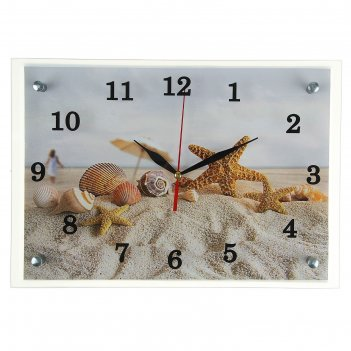 Часы настенные прямоугольные морские звезды и ракушки на песке, 25х35 см