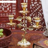 Подсвечник латунный на 3 свечи стебель