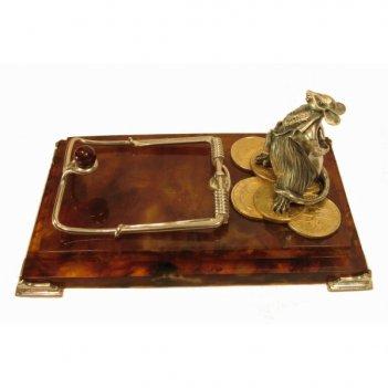Визитница настольная магнат из янтаря