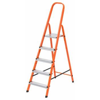 Стремянка, 5 ступеней, стальной профиль, ступени сталь, оранжевая, россия,