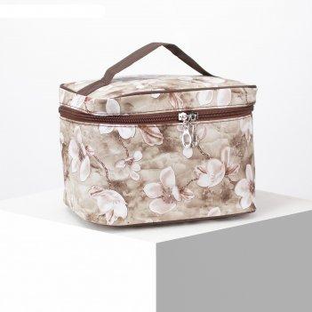 Косметичка-сумочка, отдел на молнии, с зеркалом, цвет коричневый