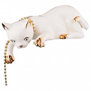 Статуэтка кошка с цепочкой длина=28см. высота=9см (кор=6шт.)