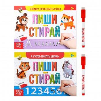 Набор многоразовых книг с маркером 2 шт пиши- стирай. пишем буквы и цифры