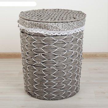 Корзина для белья плетеная круглая вьюнок 34х34х42 см, серый, малая
