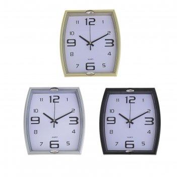 Часы настенные прямоугольник фигурный, циферблат белый, рама микс