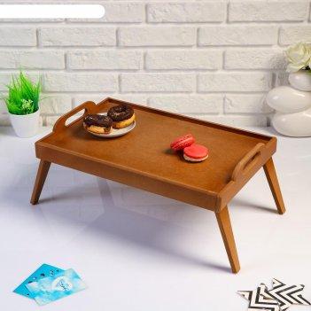 Столик для завтрака, с ручками сканди, 47x30x21 см, орех