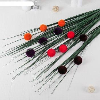 Декор осока с шариками 150 см, микс