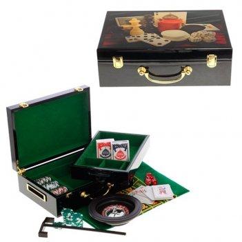Шкатулка с игральным набором (100 фишек, рулетка, сукно, кар...