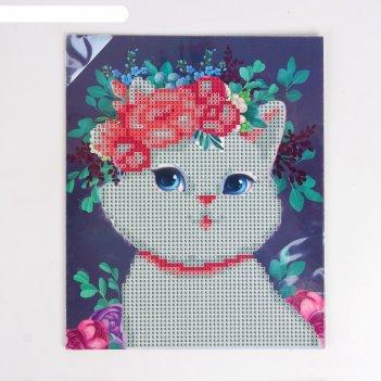 Алмазная мозаика для детей милая кошечка 20*25 см