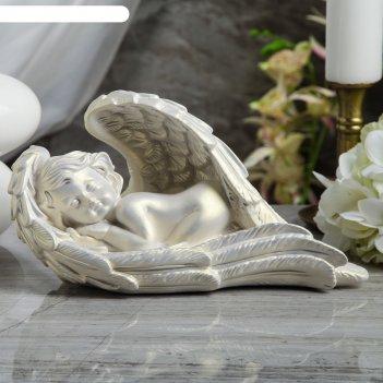 Статуэтка ангел в крыле большая, перламутровая
