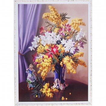 Картина полевые цветы в вазе