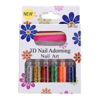 Набор для дизайна ногтей радуга: 6 баночек, наждак, палочка, клей, блестки