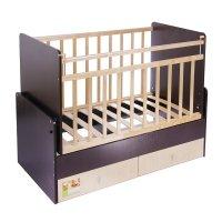 Детская кроватка «фея 720» на маятнике, с 2 ящиками, цвет венге-клён