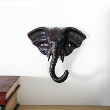 Крючок декоративный металл слон 12х13х5 см