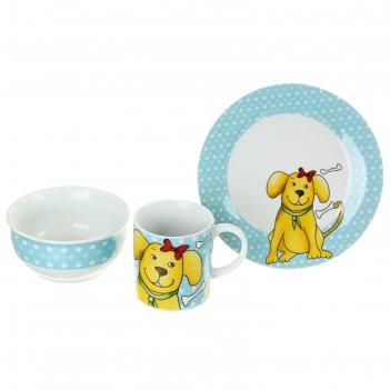 Набор детской посуды дружок, 3 предмета: кружка 200 мл, миска 300мл, тарел
