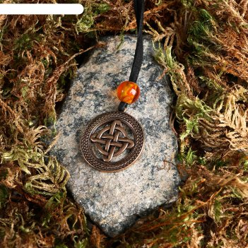 Подвеска-оберег кельтский четверной узел, латунь, янтарь, 3х3 см