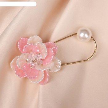 Булавка цветок орхидея, цвет бело-розовый в золоте