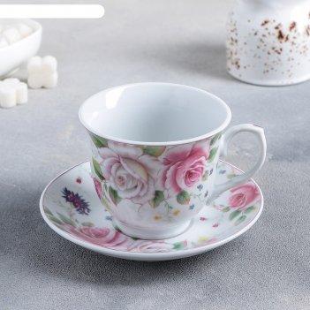 Набор чайный томная роза, 2 предмета: чашка 250 мл, блюдце