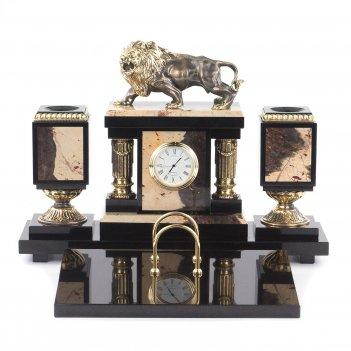 Настольный набор лев яшма долерит бронза патина 345х290х240 мм