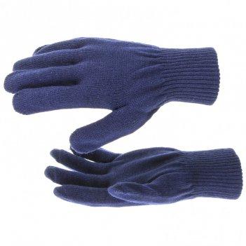 Перчатки трикотажные, акрил, синий, двойная манжета россия сибртех