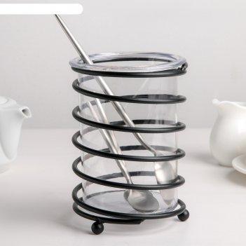 Сушилка для столовых приборов лофт 11,2х11,2х16,5 см, цвет черный