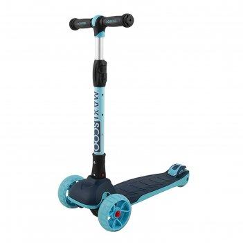 Самокат maxiscoo junior plus со светящимися колёсами цвет индиго