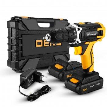 Дрель аккумуляторная и набор инструментов deko dkcd16fu-li, 63 предмета, 1