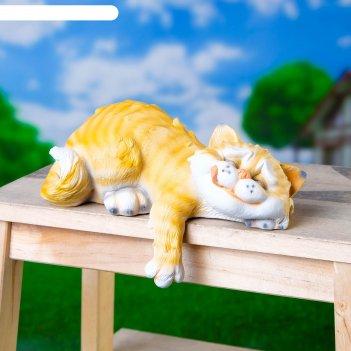 Садовая фигура спящий кот 22х14х11см