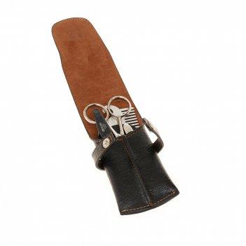Бритвенный набор dewal серии for men, 4пр. футляр: натур.кожа, цвет черный