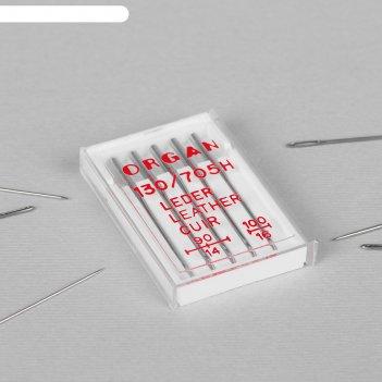 Иглы для бытовых швейных машин, для кожи, №90/14-100/16, 5 шт