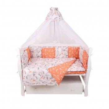 Комплект в кроватку premium, 18 предметов, принт лес, поплин
