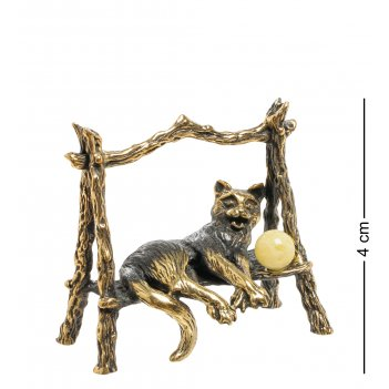 Am-1909 фигурка кот сельский (латунь, янтарь)